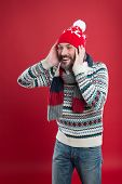 Fashion And Style. Winter Trends. Knitted Hat Scarf And Sweater. Winter Knitwear. Knitwear Accessori poster