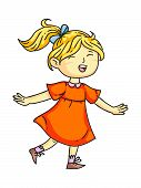 Happy Smiling Child Cheerfully Joyfully Jumping, Laughing, Screaming Cartoon. Playful Girl. Happines poster