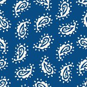 Traditional Textured Hand Painted Classic Blue Paisley Vector Seamless Pattern. Color Of The Year Cl poster