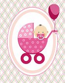 Baby, Girl, Asia, Postcard, Pink Lines, Rhombuses, Vector. A Little Girl In A Pink Stroller. A Pink  poster