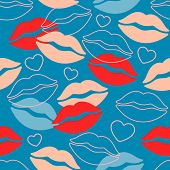 Lips Hearts  Seamless Pattern On Blue. Modern Youth Illustration For Valentines Day. poster