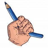 Broken Pencil In A Fist Icon. Vector Illustration Of A Broken Pencil In A Male Hand. Hand Drawn Brok poster
