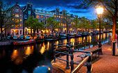 Evening town Amsterdam in Netherlands on bank river canal Amstel with shining window. Panorama lands poster
