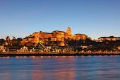 Scenic Evening Landscape View Of The Buda Side. Beautiful Illumination Of The Buda Castle (royal Pal poster