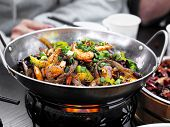 Close Up Chinese Spicy Food Sichuan Style. Stir Fried Seafood And Dried Chilies With Sichuan Pepper  poster