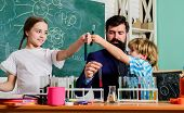 Teacher And Pupils Test Tubes In Classroom. Chemistry Themed Club. Discover And Explore Properties O poster