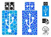Usb Flash Drive Mosaic Of Filled Circles In Variable Sizes And Shades, Based On Usb Flash Drive Icon poster
