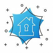 White Line House Under Protection Icon Isolated On White Background. Protection, Safety, Security, P poster