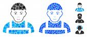 Worker Mosaic Of Round Dots In Various Sizes And Color Tones, Based On Worker Icon. Vector Round Dot poster