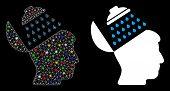 Glossy Mesh Propaganda Brain Shower Icon With Glitter Effect. Abstract Illuminated Model Of Propagan poster