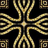 Gold Glitter Vintage Ornamental Vector Seamless Pattern. Greek Style Patterned Ornate Background. Re poster