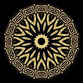 Gold Glitter Flower Vector Mandala Pattern. Greek Style Ethnic Background. Geometric Glittering Back poster
