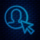 Glowing Neon Line User Of Man In Business Suit Icon Isolated On Brick Wall Background. Business Avat poster