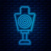Glowing Neon Line Human Target Sport For Shooting Icon Isolated On Brick Wall Background. Clean Targ poster