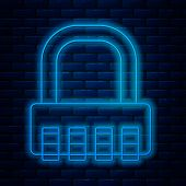 Glowing Neon Line Safe Combination Lock Icon Isolated On Brick Wall Background. Combination Padlock. poster