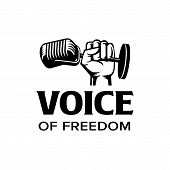 Voice Of Freedom Logo. Fist Hold Mic Iconic. Branding For Band, Social Organization, Singer, Singing poster