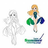 Hand Drawn Art, Anime Cartoon Style. Girl Wearing Swimsuit And Pareo. poster