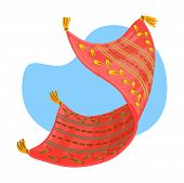 Flying Carpet Red Carpet With A Pattern. Vector Illustration poster