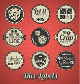 stock photo of dice  - Collection of retro style dice and craps labels and icons - JPG