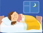 image of sleepy  - Illustration of a girl sleeping in her bed - JPG