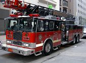 image of fire truck  - fire truck at a parade in new york - JPG