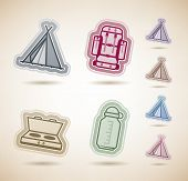 image of tipi  - 4 icons in relations to summer outdoor activity pictured here from left to right top to bottom: 
