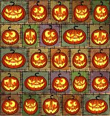 stock photo of drakula  - Halloween shabby background with funny smiling pumpkins - JPG