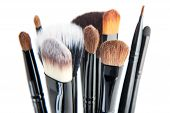 Makeup Brushes On A White Background