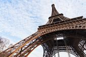 picture of arch foot  - bottom view of supports of Eiffel Tower in Paris - JPG