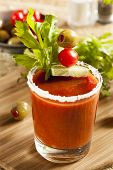 foto of bloody mary  - Spicy Bloody Mary Alcoholic Drink with a tomato garnish - JPG