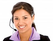 stock photo of business-office  - business customer support operator woman smiling  - JPG