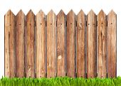 image of dry grass  - wooden fence and grass isolated on white - JPG