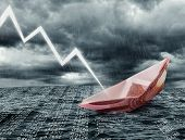stock photo of collapse  - Sinking euro ship - JPG