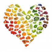 stock photo of melon  - Rainbow heart of fruits and vegetables - JPG