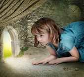 stock photo of alice wonderland  - Alice finding tiny door behind curtain - JPG