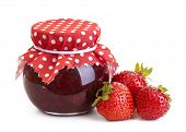 stock photo of jar jelly  - Strawberry jam and fresh berries isolated on white - JPG