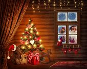 stock photo of fable  - Room with christmas tree and presents - JPG