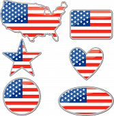 pic of heart shape  - Various shapes with the Usa flag inside - JPG