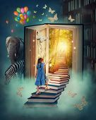 stock photo of butterfly  - Little girl walking up stairs to the magic book land - JPG