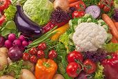 picture of aubergines  - Assortment of fresh vegetables close up - JPG