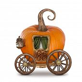 image of trolley  - Pumpkin carriage isolated on white background - JPG