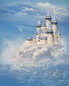 image of castle  - Fantasy castle in the clouds - JPG