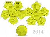 stock photo of dodecahedron  - Dodecahedron 2014 calendar - JPG