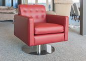 stock photo of showrooms  - Showroom modern furniture shop with red luxury leather armchair - JPG
