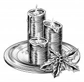 stock photo of lithographic  - Illustration of vintage Christmas candles and holly decorations on a plate - JPG