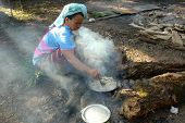 Hill tribe outdoor cooking in Mae Hong Son, Thailand