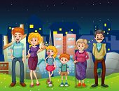 Illustration of a happy family near the tall buildings in the city