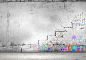 foto of step-ladder  - Background image of ladder of success drawn on wall - JPG