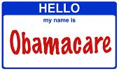 image of universal sign  - hello my name is obamacare blue sticker - JPG