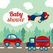 image of baby delivery  - Toy transport on the road with forest on background baby shower invitation card vector illustration - JPG